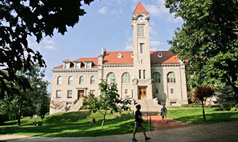Student Building and clocktower on IU Bloomington campus